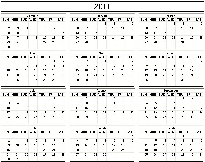2011 calendar printable one page. One Page Yearly Calendars