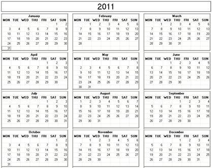 yearly 2011 printable calendar black and white weekday starts monday