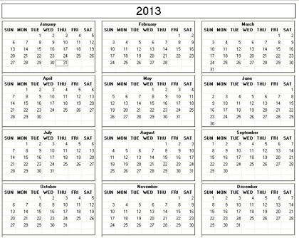 Yearly 2013 Printable Calendar - black and white weekday starts Sunday