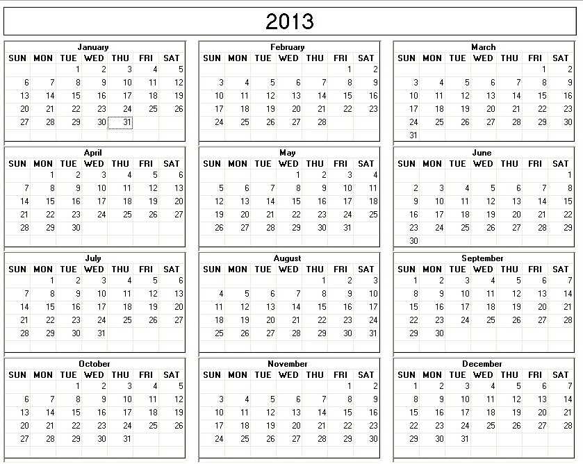 2013 Yearly Calendar Printable One Page