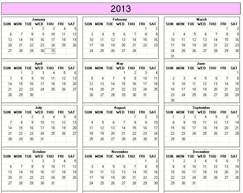 Printable Calendar above. Click the link to print