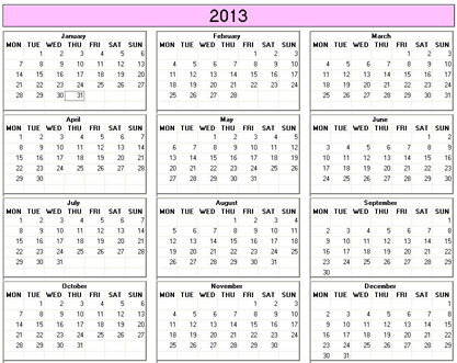 Yearly 2013 Printable Calendar - color & weekday starts Monday ...