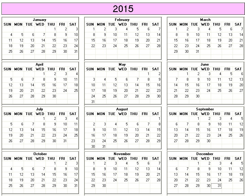 Charming Yearly 2015 Printable Calendar Color Week Starts On Sunday |  Calendarprintables.net