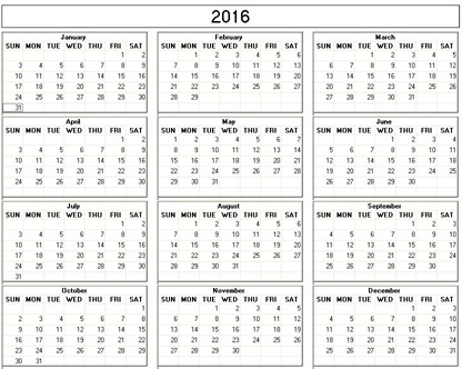 Yearly 2016 Printable Calendar - color & weekday starts Monday ...