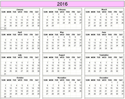 yearly 2016 printable calendar color weekday starts sunday