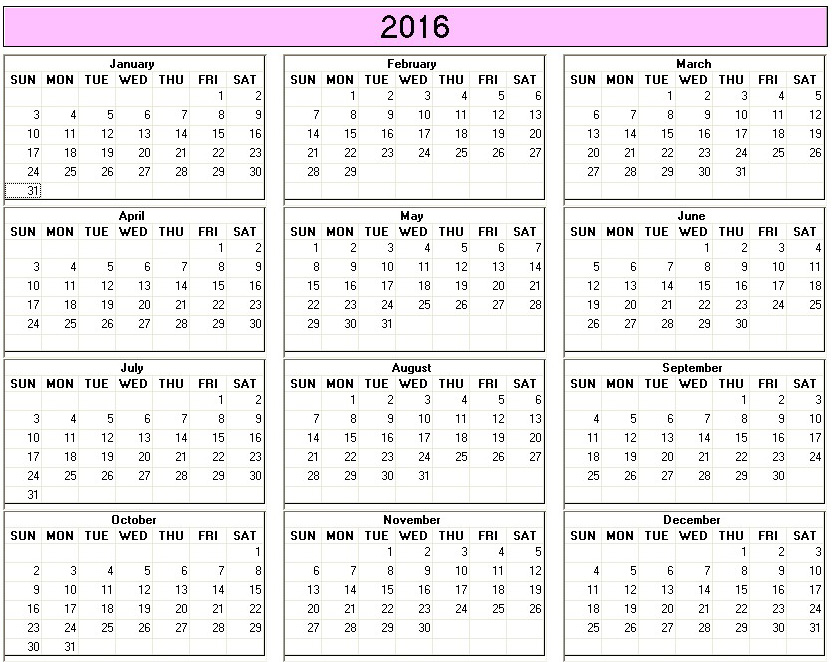 Yearly 2016 Printable Calendar - Color & Weekday Starts Sunday