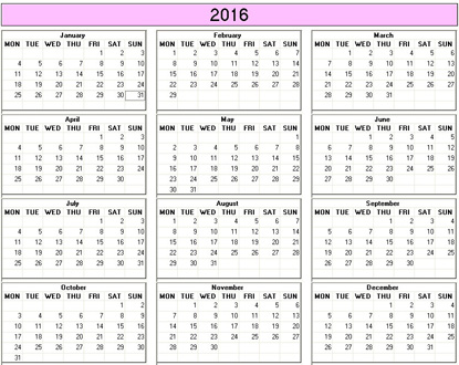 yearly 2016 printable calendar color weekday starts monday
