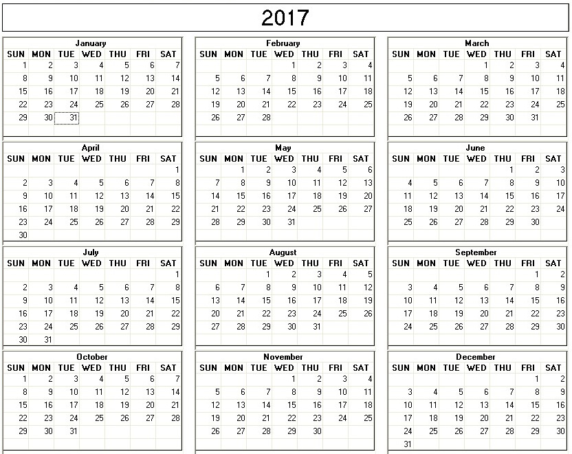Yearly 2017 Printable Calendar back and white week starts on Sunday ...