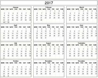 2017 Calendar Starting On A Monday | Printable Calendars 2017