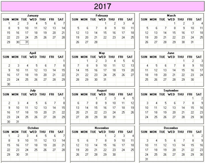 Yearly 2017 Printable Calendar - color & weekday starts Sunday ...