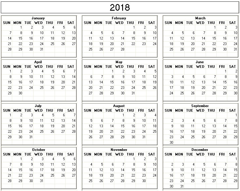 Yearly 2018 Printable Calendar back and white week starts ...