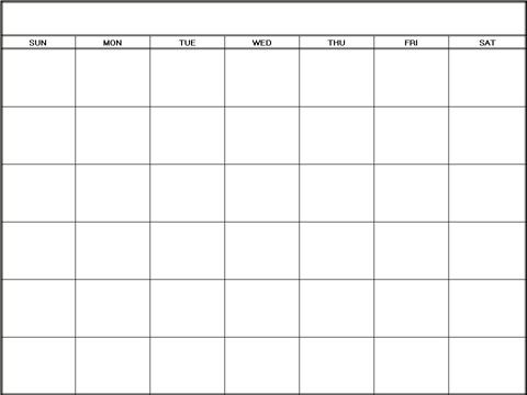 Blank Calendar Monthly Template