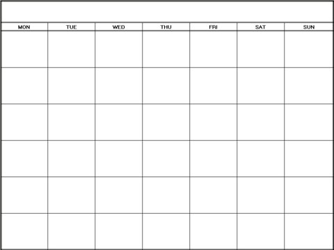 Printable Blank Calendars Templates Monday| Blank Calendars