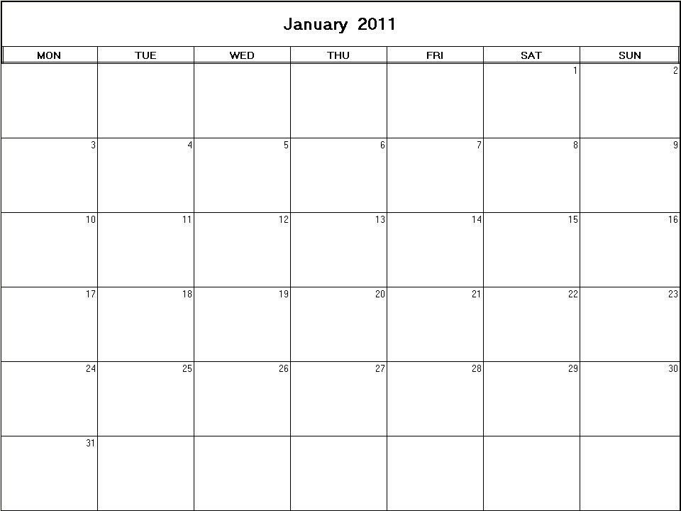 printable blank calendar image for January 2011