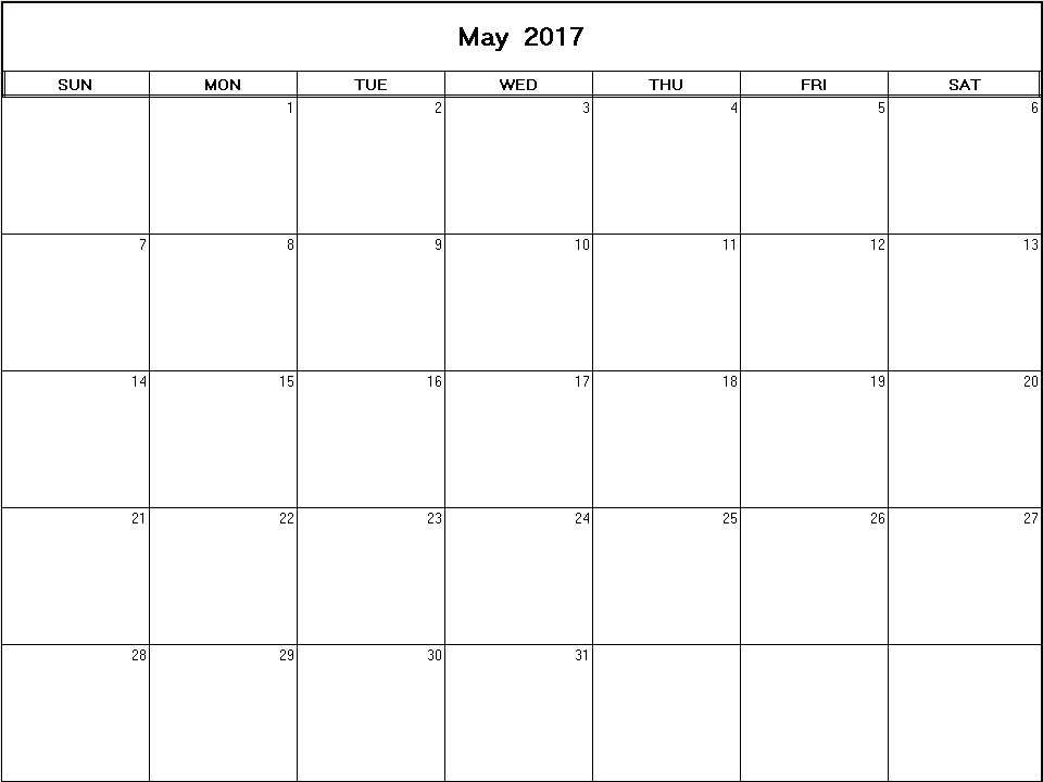 May 2017 Printable Blank Calendar - Calendarprintables.Net