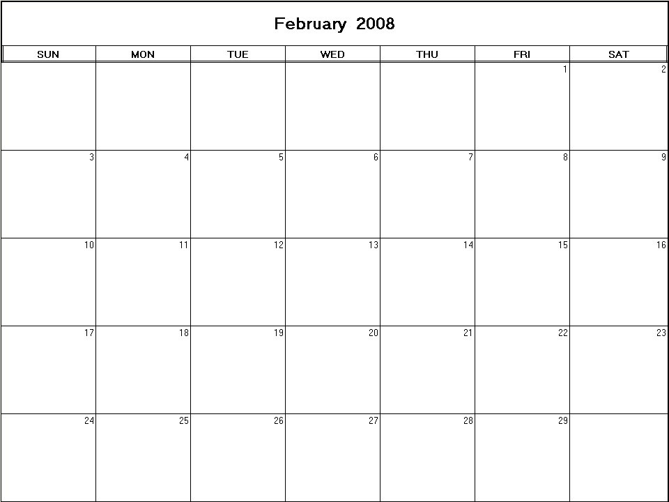 printable blank calendar image for February 2008
