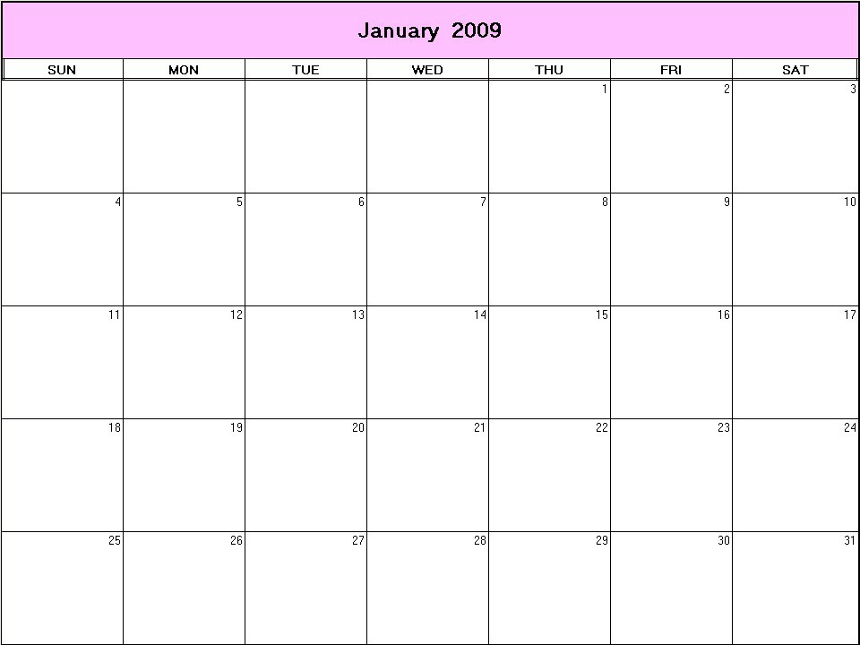January Calendar 2009 : January printable blank calendar calendarprintables