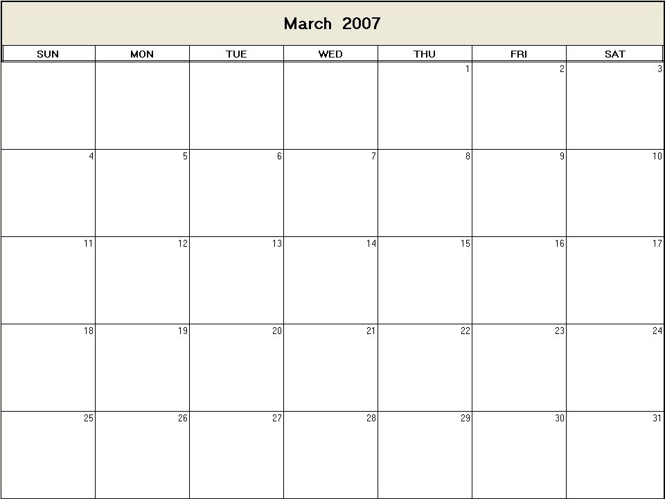printable blank calendar image for March 2007
