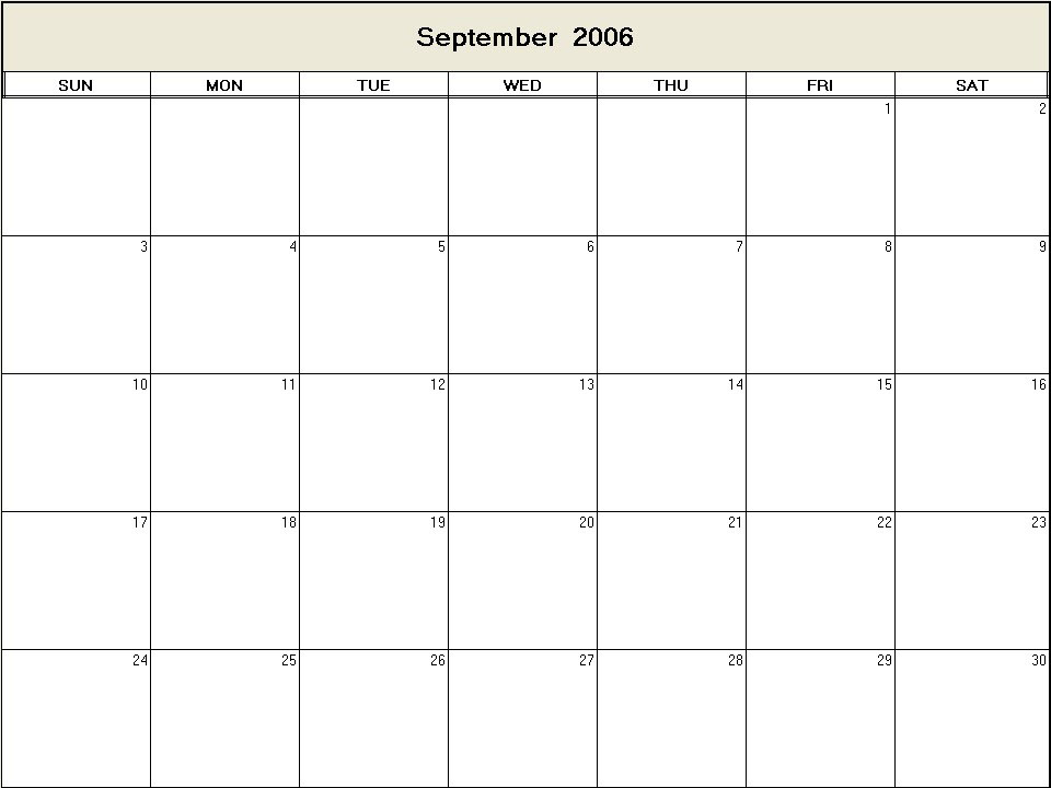 September 2006 printable blank calendar - Calendarprintables.net