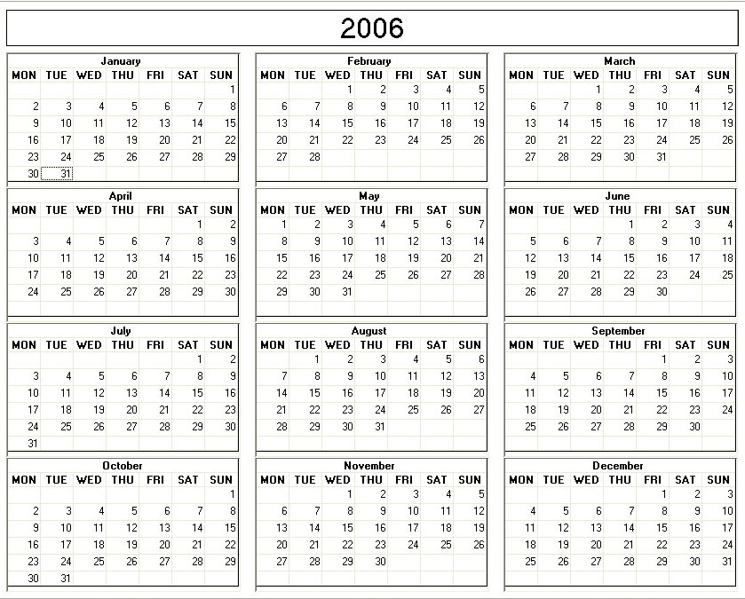 Printable 2013 Yearly Calendars | Calendar Template 2016