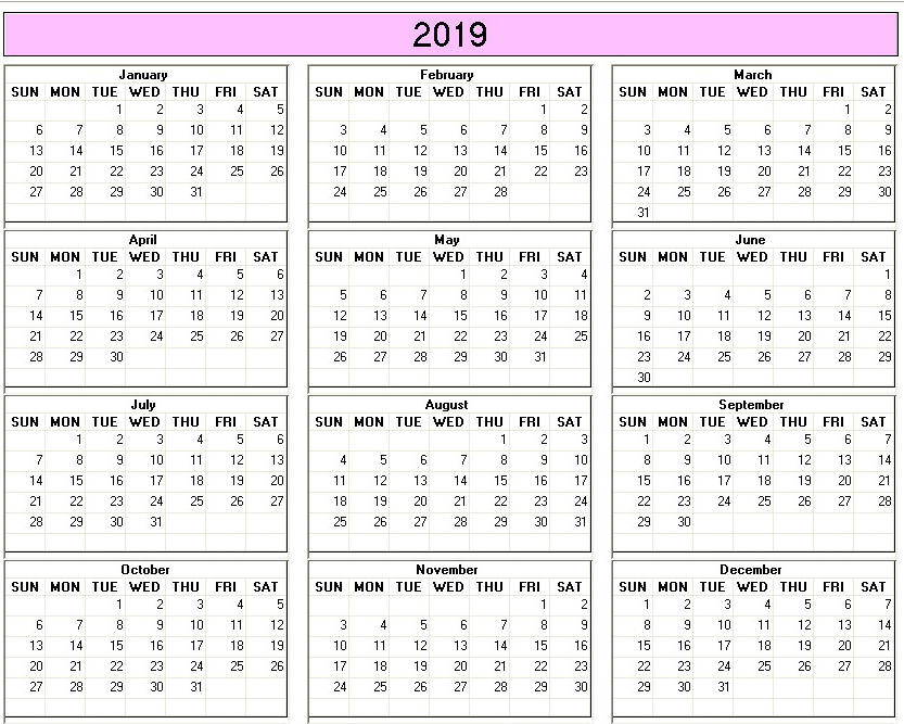 Yearly 2019 Printable Calendar color week starts on Sunday ...
