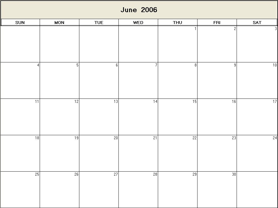 June 2006 printable blank calendar - Calendarprintables.net